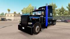 La peau Noir Vert Bleu au camion Peterbilt 389