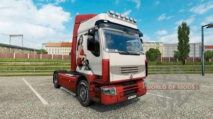 La peau Irina Shayk sur un tracteur Renault Premium pour Euro Truck Simulator 2