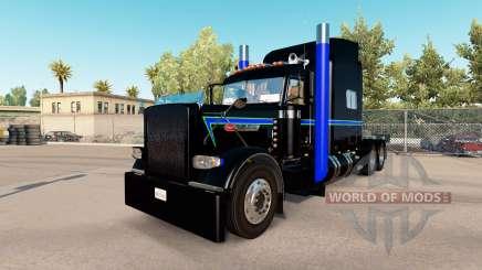 La peau Noir Vert Bleu au camion Peterbilt 389 pour American Truck Simulator