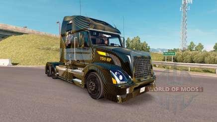 La peau Dorée et Noir sur le camion Volvo VNL 670 pour American Truck Simulator