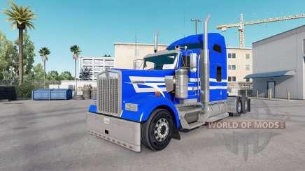 Peau Bleu Blanc Bandes sur le camion Kenworth W900 pour American Truck Simulator