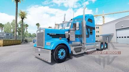 La peau Bleu Noir pour camion-tracteur Kenworth W900 pour American Truck Simulator