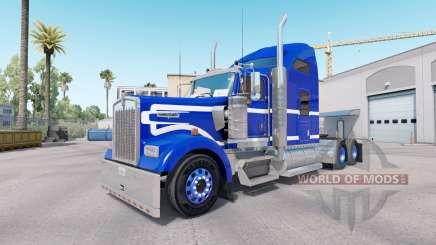 Le Bleu de la peau sur un Blanc camion Kenworth W900 pour American Truck Simulator