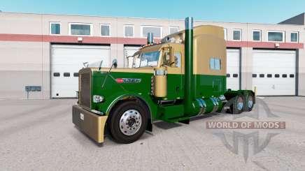 La peau de couleur Or Foncé Vert sur le camion Peterbilt 389 pour American Truck Simulator