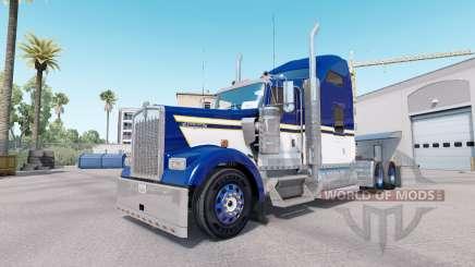 Peau Bleu Jaune Blanc pour camion Kenworth W900 pour American Truck Simulator