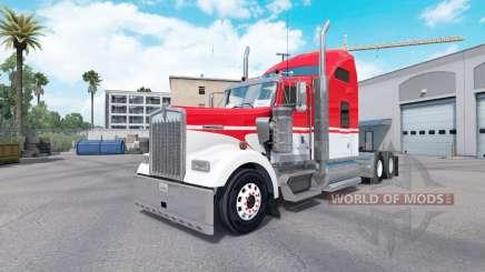 La peau Blanc sur Rouge tracteur Kenworth W900 pour American Truck Simulator